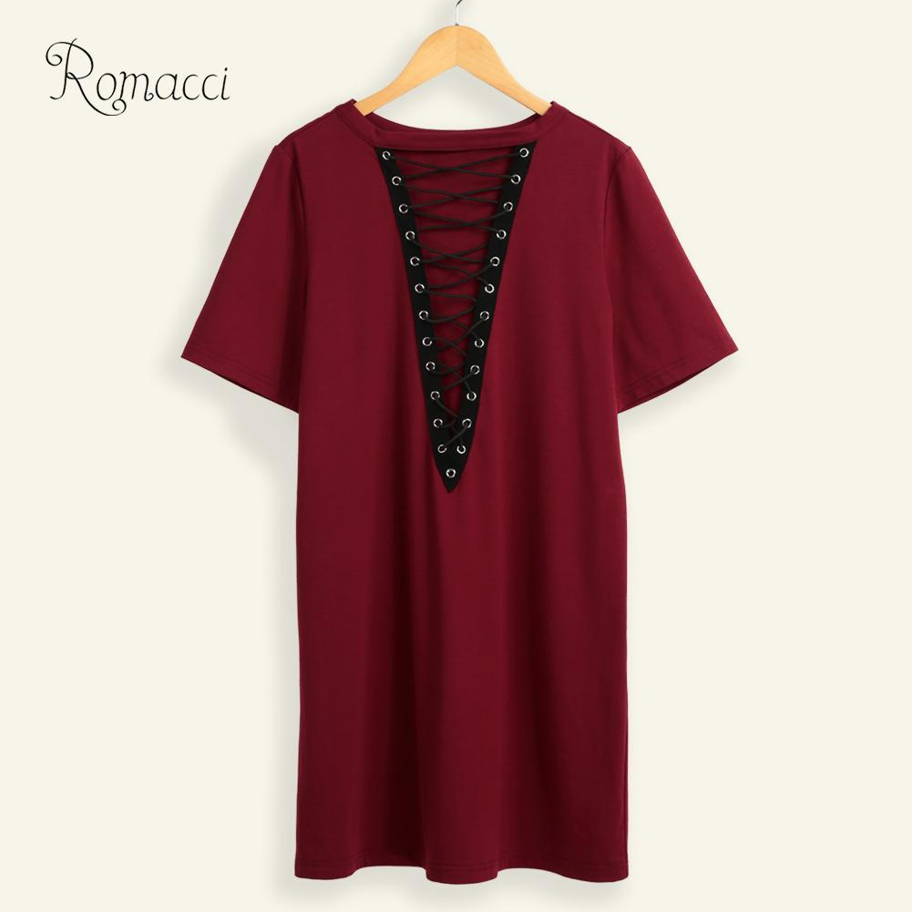Romacci Sexy Big Size Dress Women Lace Up Mini Dress Hollow Out Plunge V Short Sleeve Long T-Shirt Plus Size Casual Summer