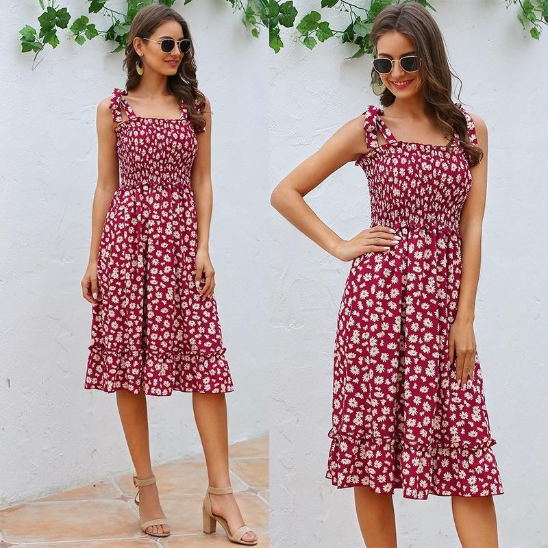 Платья для женщин Элегантной моды лета женщин платья пляжа оборки Урожай печать рукава платья без бретелек