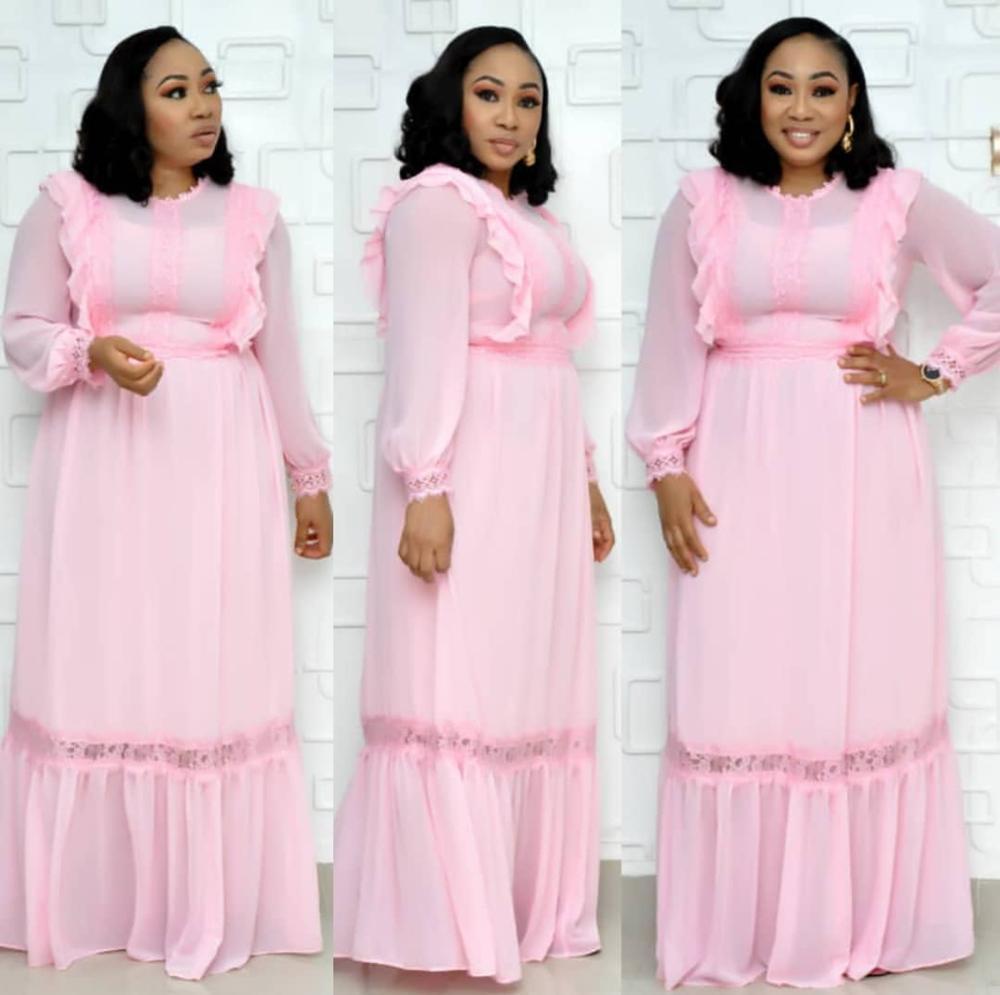 dantel bel uzun kollu Yeni stil klasik Afrikalı kadın giyim dashiki moda Yuvarlak yaka fırfır uzun elbise gevşek