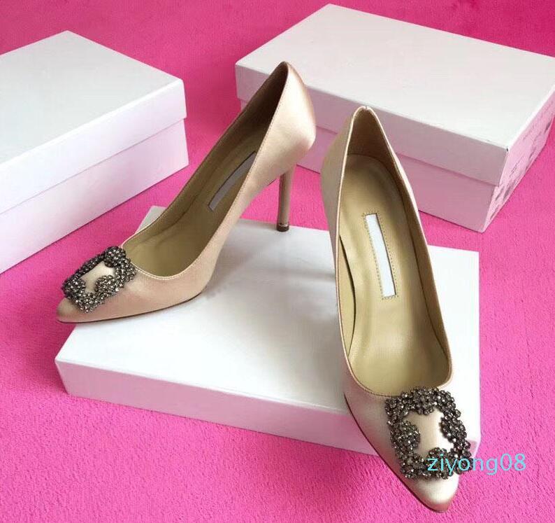 Zapatos de boda del diseñador de la marca de novia de fiesta de las mujeres vestido de las señoras de la manera atractiva de las sandalias punta estrecha altos talones de cuero del brillo PumpsQA19