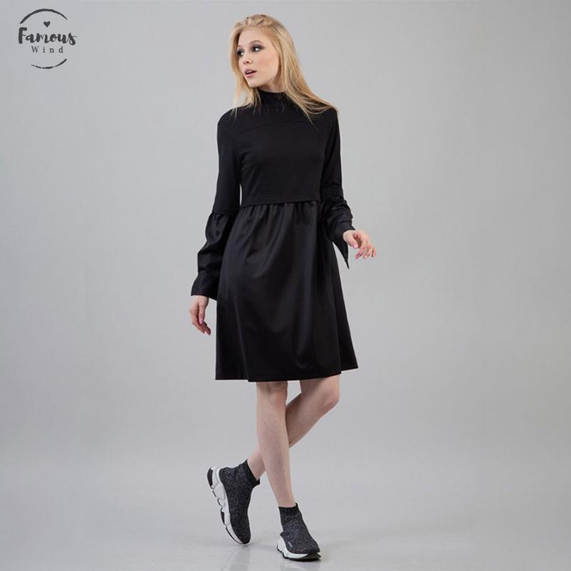 Femmes PU En Cuir Patchwork Robe Dames À Manches Longues Col Montant Robe D'Hiver 2020 Nouvelle Mode D'Hiver Femmes Genou Robe Vintage Noir