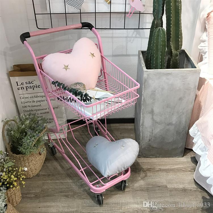 1 PCS 40*45cm Pink Grey Cotton Fabric with Star Embroidery Soft Heart Cushion Sofa Throw Pillow Back Cushion with Filling