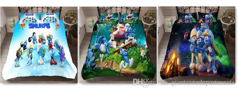 Children's animated cartoon Blue Elf 3D Down Comforters sets, Double Bed, Full Set, Queen's Bed, King's Bed