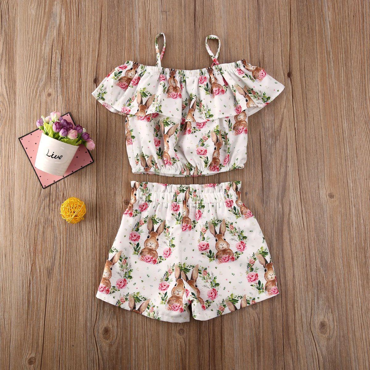 1-6Y criança infantil Crianças Bebés Meninas Páscoa Roupa Define Ruffles dos desenhos animados Imprimir T-shirt Tops Calças Roupas Sets