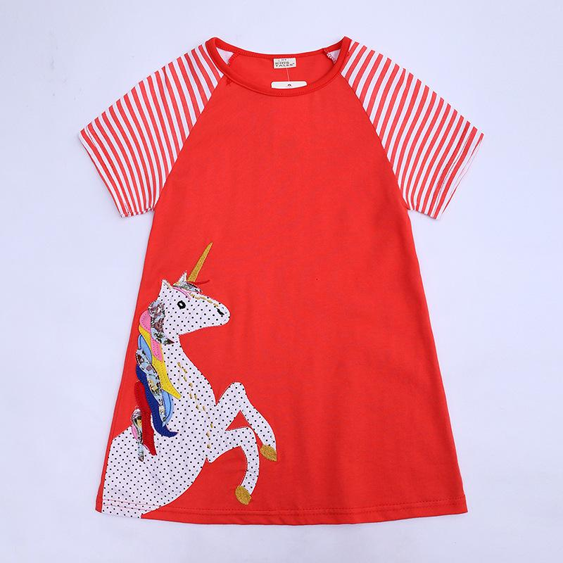 Girl Summer Dress Cartoon deer Printed Kids Flower Dress Cotton Casual Toddler Dress INS hot sale Baby Clothing