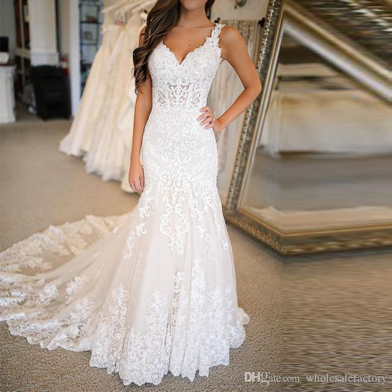 2020 Lace Mermaid Wedding Dresses V Neck Spaghetti Straps Tulle Applique Court Train Wedding Bridal Gowns robes de mariée