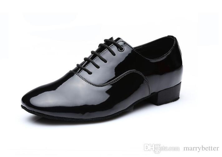 Sapateado Sapatos de Salto Quadrado Sapatos de Salto Quadrado Sapatos Masculinos Lace-up Sapatos de Dança Adultos Sapatos de Borracha Anti-Derrapagem Homens Solas 1a18