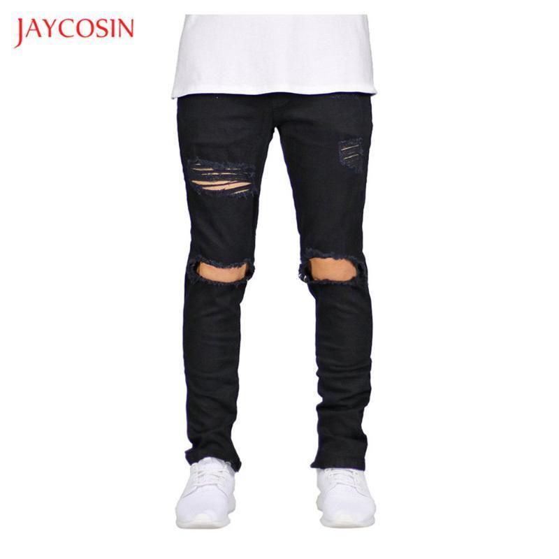 Jaycosin New Skinny Jeans Hommes Streetwear Casual trou Jeans Pantalons Détruit Homme Hip Hop Homme Crayon PANTALON