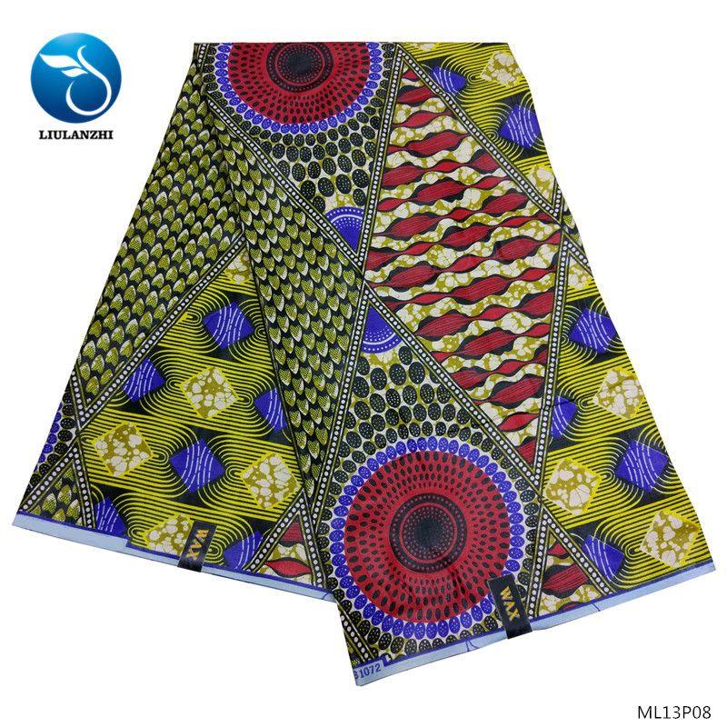 LIULANZHI хлопок восковые ткани африканские ткани восковое платье 2019 новое поступление печатает ткань для женщин платье 6 ярдов ML13P08-ML13P13