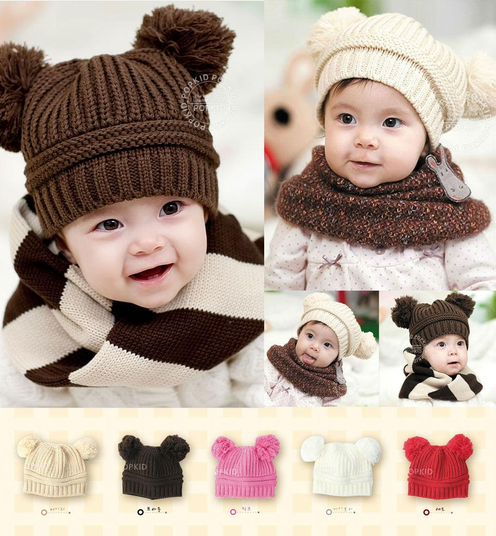5 Color Infant Baby Unisex Double Bobbles Beanies Knitted Ribbed Hats Children Kids Autumn Winter Warm Solid Color Caps