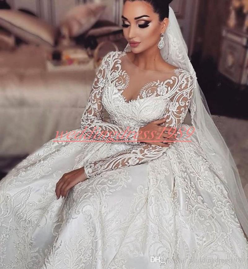 Glamorous Said Mhamad Plus Size Lace Wedding Dresses Sheer Winter Dubai Long Sleeve Country Bride Ball Arabic vestido de noiva Wedding Gowns