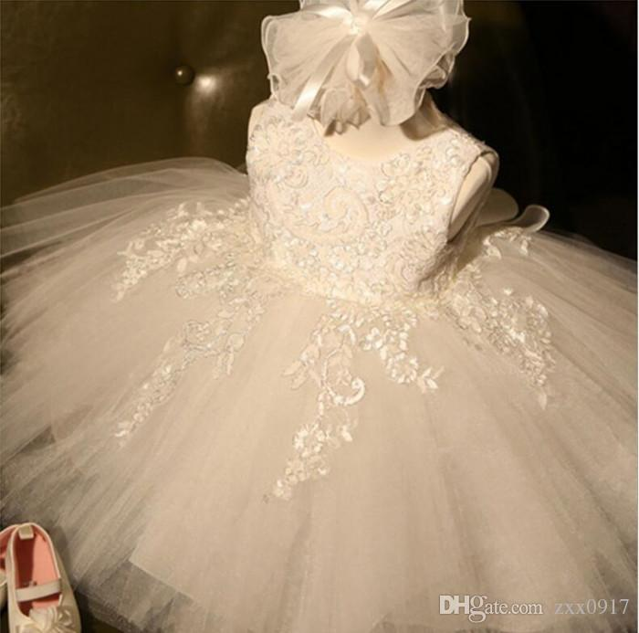 New Baby Girls Lace Princess Dresses Fashion Bow Children Clothes 3 Colors Mesh Tutu Dress