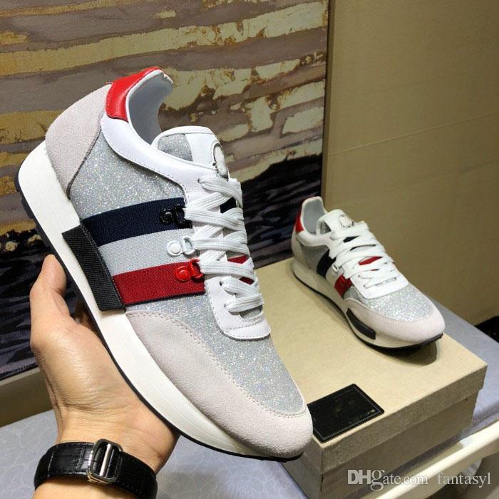 2019 Diseñador de moda de lujo caliente zapatillas de deporte de moda de los hombres zapatillas de deporte de moda barata con cordones de zapatos con caja gris
