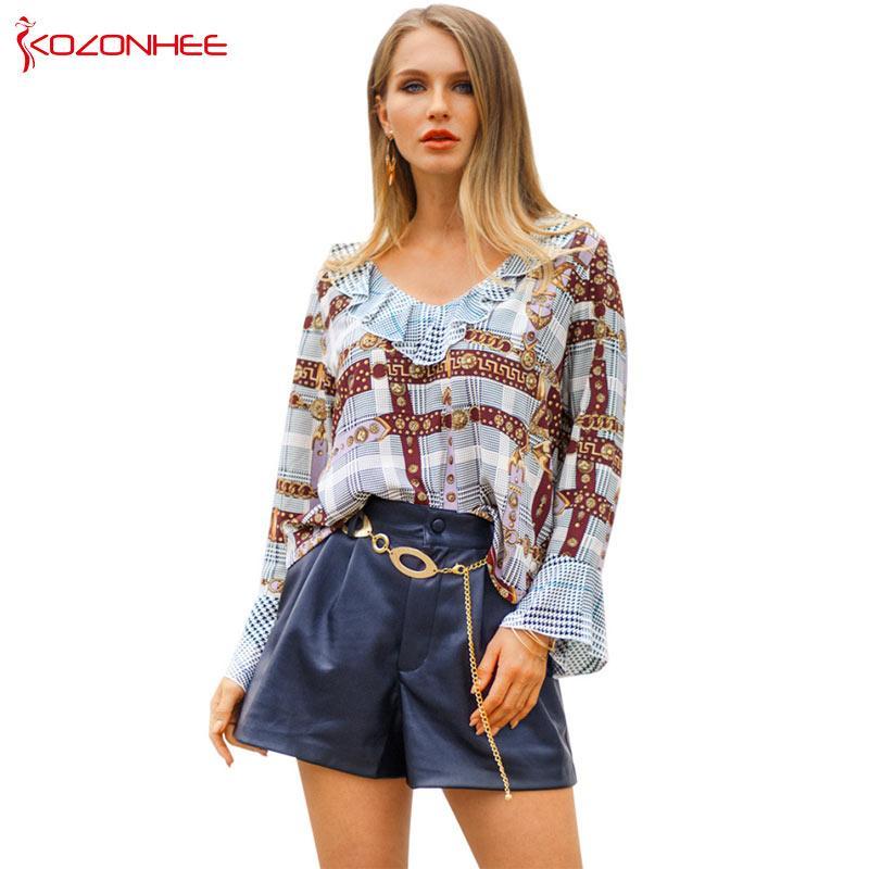 Solto Poliéster Mulheres Finas Camisas Femininas Geométrica Única Com Decote Em V Borboleta Manga Blusas Comprimento Mulheres Blusa # 26