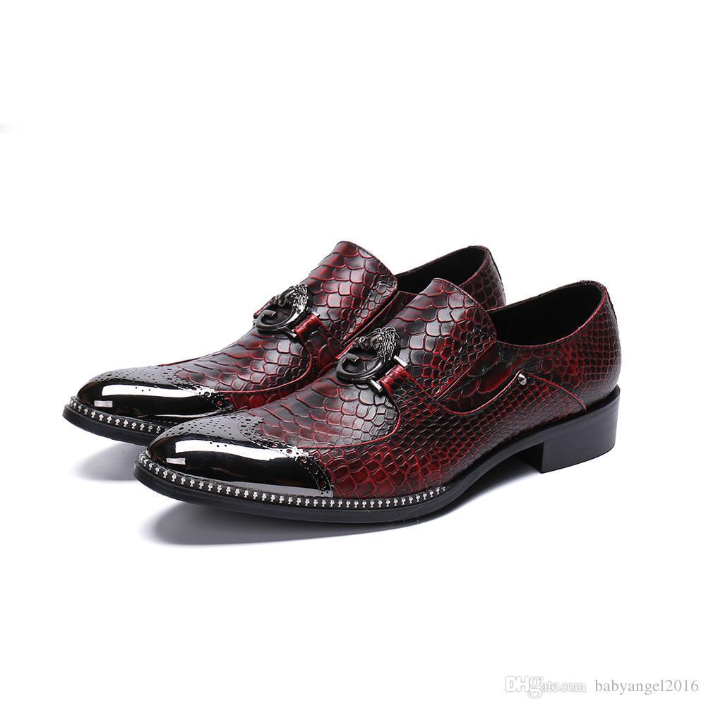 Mode Schlangenhaut Muster Aus Echtem Leder Männer Schuhe Bullock Geschnitzte Männer Kleid Schuhe Büro Business Schuhe