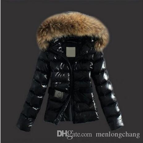 CALDO! Collo di pelliccia di procione invernale Giacca da donna in piumino corto di cotone piumino slim fit moda coreana