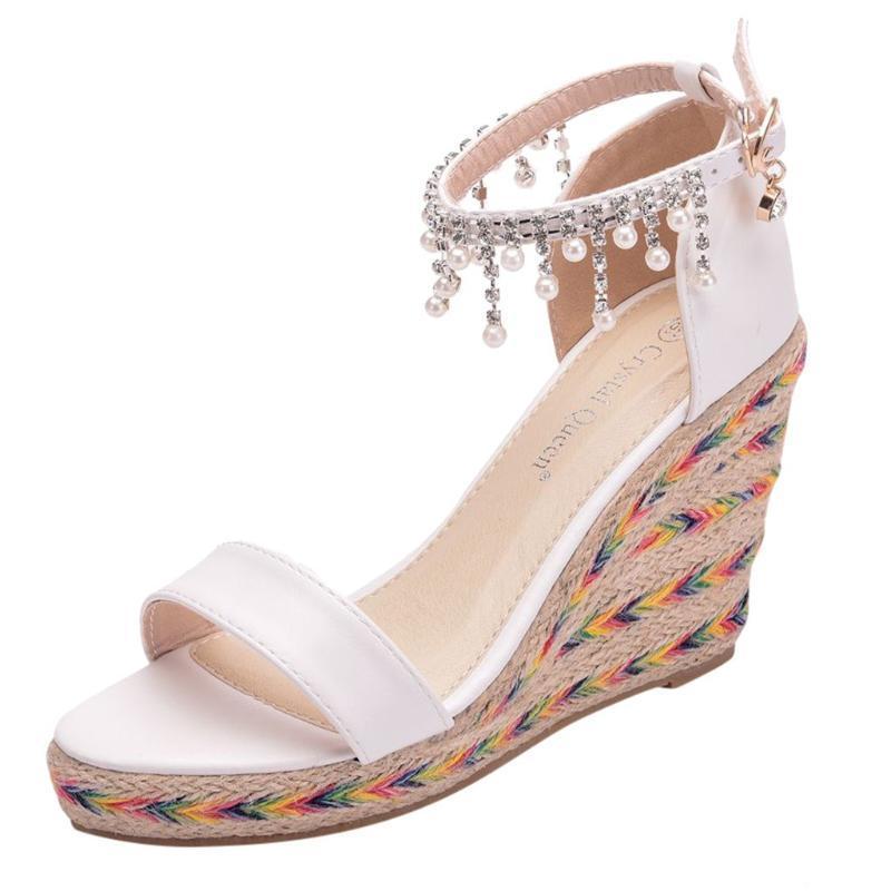Chaussures de mariage SAGACE Sandales pour femme Tassel Wedges perles Sandales Tissé Chaussures de mariage Bas Casual Haut Platform Wedges