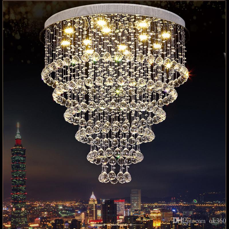 K9 lustre de cristal da gota da chuva de cristal lâmpada do teto com GU10 Lâmpadas LED embutida Stair Luz Escadaria Escadas Foyer Chandelier