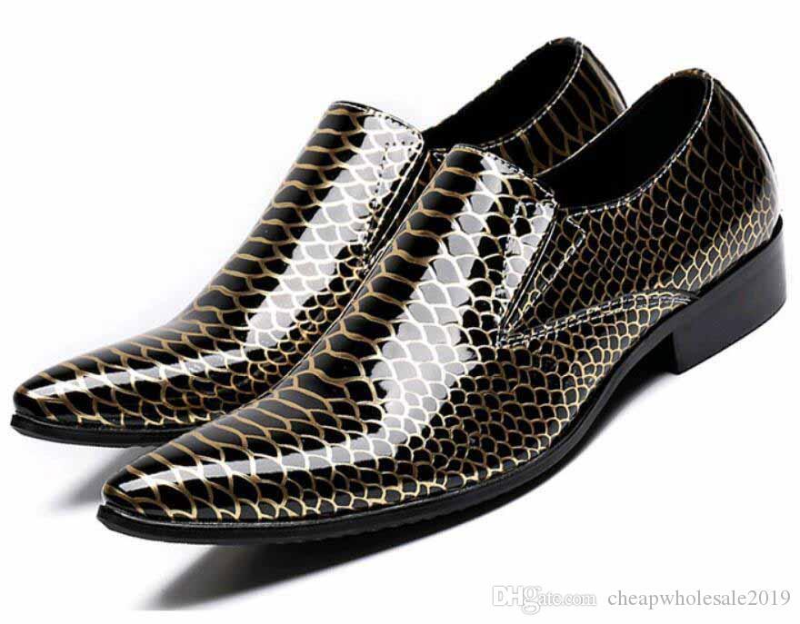 design di lusso degli uomini scarpe da sera in vera pelle di serpente pattini della festa nuziale di ritorno a casa da ballo Scarpe da uomo marca zapatos de novio