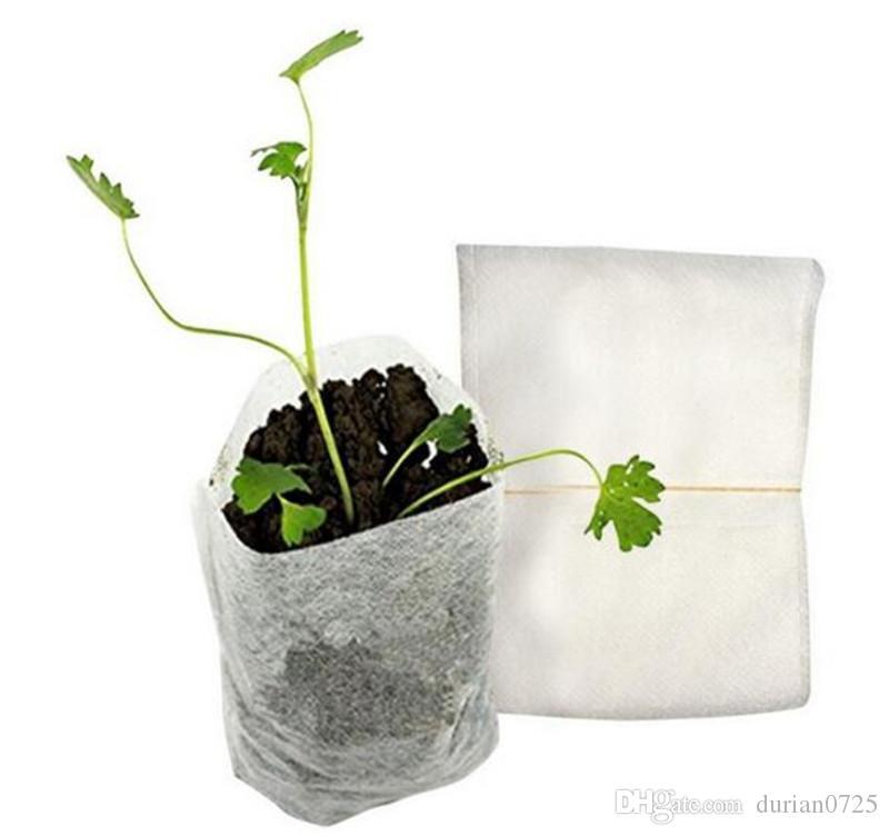 Nouveau Patio 100pcs / Paquet Jardin Fournitures Nursery protection de l'environnement Pots sacs non-tissés Raising 8 * Seedling 10cm Tissus