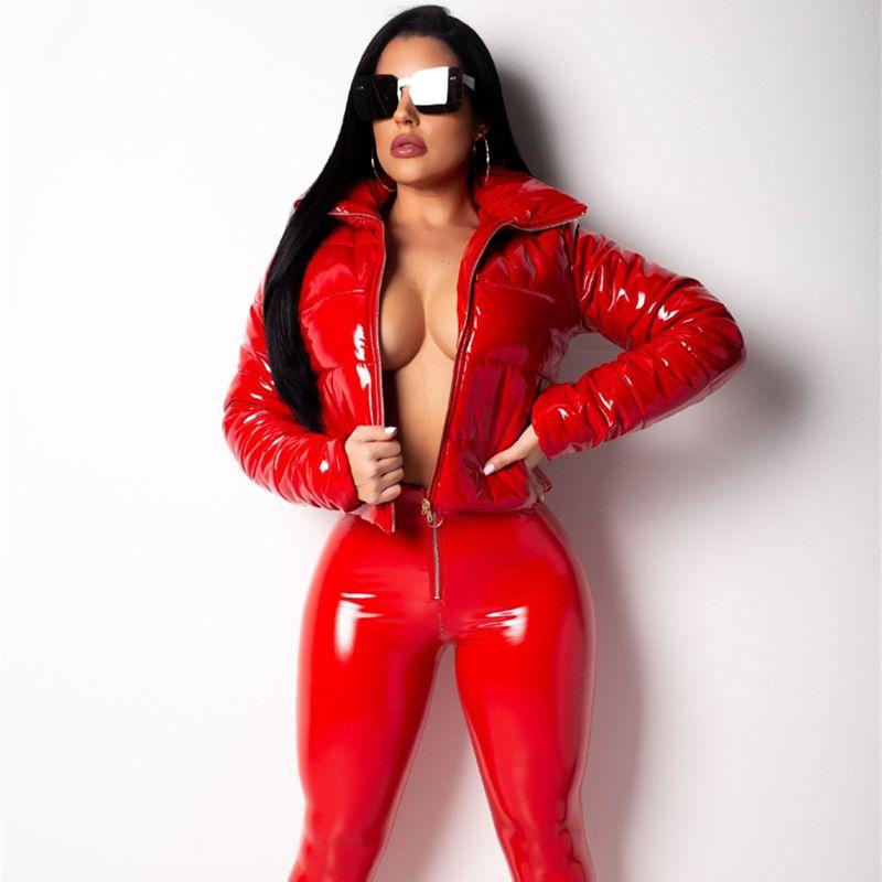 Fuax Leather Women Winter Outerwear 50% Fashion Autumn Down Coat Female Long Sleeve PU Down Jackets Plus Size XXL Punk Style Streetwear