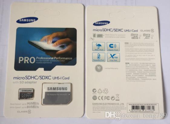 1 قطعة 32GB / 64GB / 128GB / 256GB سامسونج PRO + بطاقة مايكرو التنمية المستدامة بطاقة CLASS10 / اللوحي TF C10 / كاميرا بطاقة ذاكرة / SDXC بطاقة 90MB / S