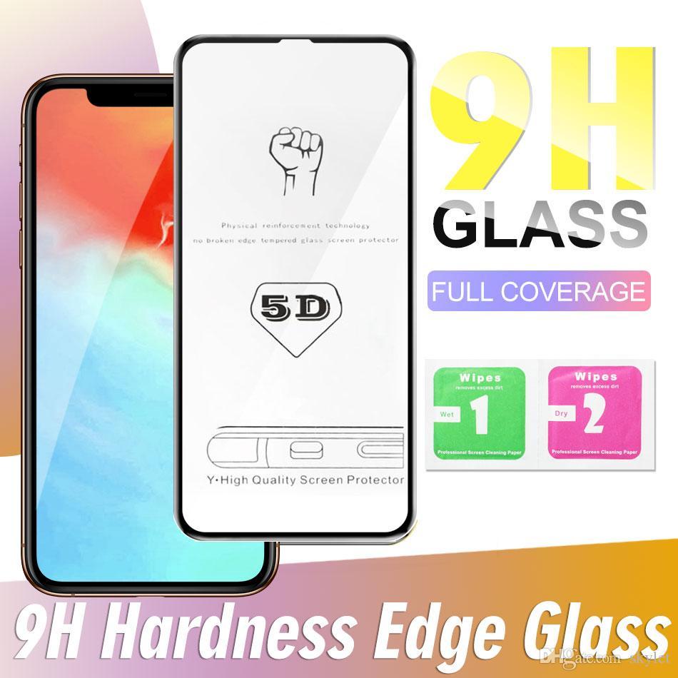 New 5D Voll Curved Adhesive Schirm-Schutz für iPhone 11 Pro Max XR 7 8 Plus 9H Härte Ausgeglichenes Glas Anti Scratch Shatterproof Film