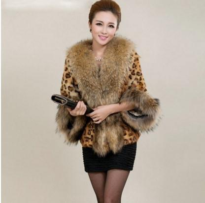 إمرأة ليوبارد طباعة كبير الفراء طوق سترة قصيرة القسم الشتاء الخريف الإناث وهمية الفراء معاطف كبيرة الحجم فو الملابس K824