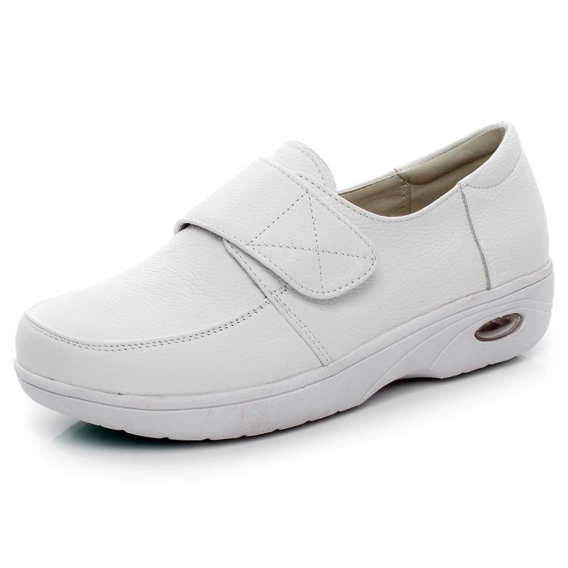 Yeni Stil Gerçek Deri Pamuk dolgulu Ayakkabı Hemşire Ayakkabı Beyaz Yastık Taban Tam tahıl Deri İş Kış Günlük Ayakkabılar