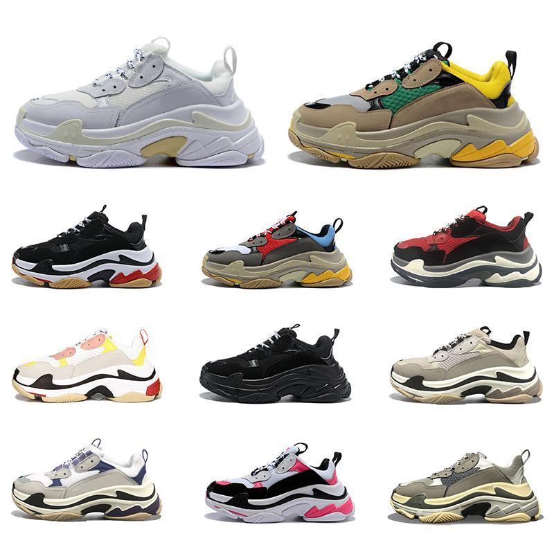 Balenciaga Triple S lüks tasarımcı platform ayakkabılar erkekler kadınlar gündelik spor ayakkabısı siyah beyaz mor erkek eğitmenler spor ayakkabısı çevrimiçi satış womens