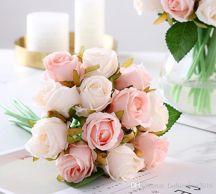 신선한 인공 실크 핑크 레드 브라 웨딩 부케 화려한 웨딩 장식 인공 신부의 꽃 테이블 장식 로즈