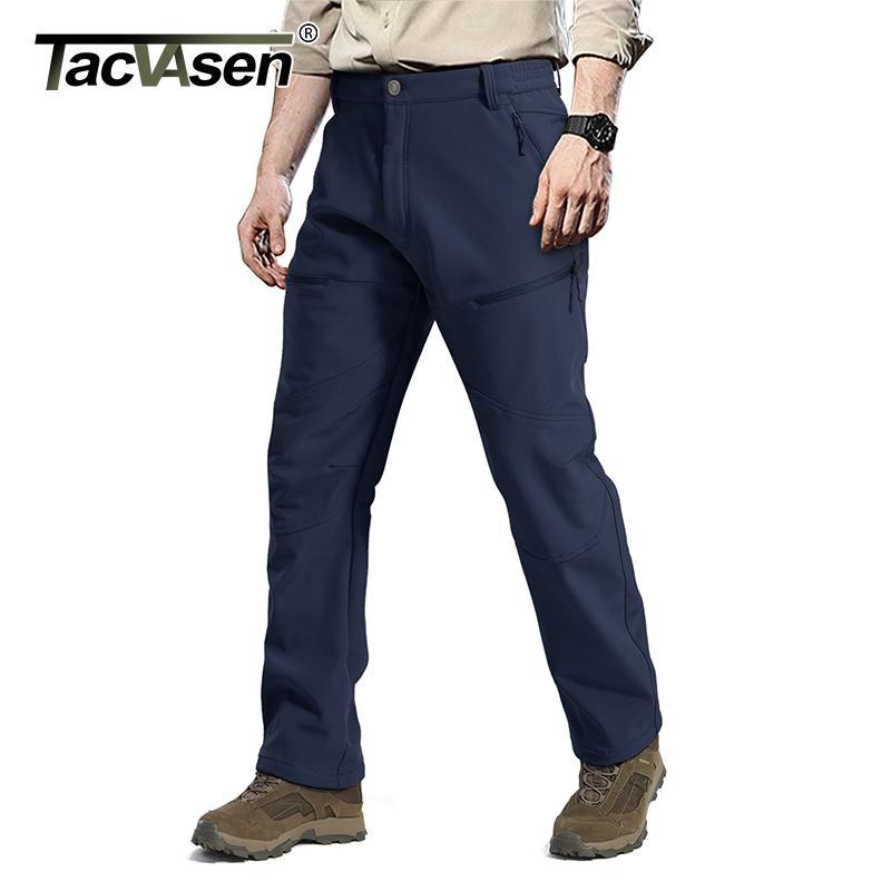TACVASEN Softshell táticos Calças Homens Sólidos Fleeced quentes calças Exército Casual trabalho Carga de caminhada esqui Pant Calças