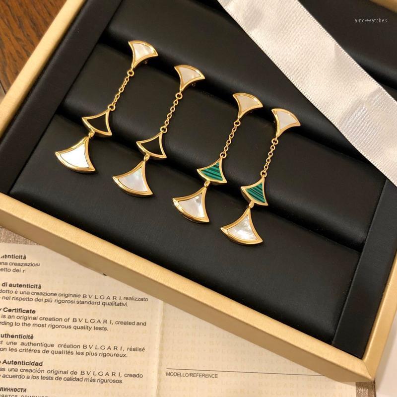 Dangle Avize Küpe Üç Çiçekler Uzun Kolye Küpe Takı 925 Gümüş Post Kadınlar Yüksek Noel Partisi Gift1
