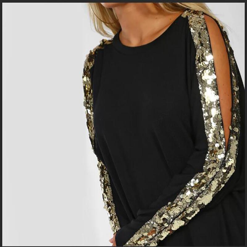 Shikoroleva футболки для женщин 2020 Side Gold Glitter Блестки с длинным рукавом Op Тис Плюс Размер 2xl Xl S Black Navy Red Ropas Ladies T200108