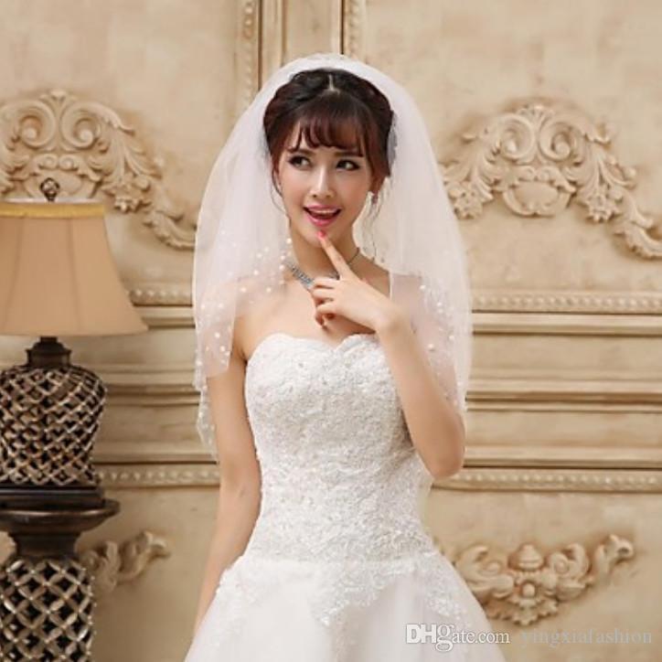 Nouveau Meilleures ventes image réelle à deux couches de perles bord longueur du coude en alliage Peigne Blanc Ivoire Rouge mariage Voile Meidingqianna Marque