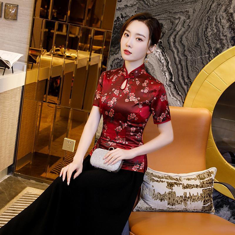 2020 Printed Dress Imitation Silk Positioning Flower Dress Cheongsam Daily Retro Classic Modern Qipao Large Size 5XL