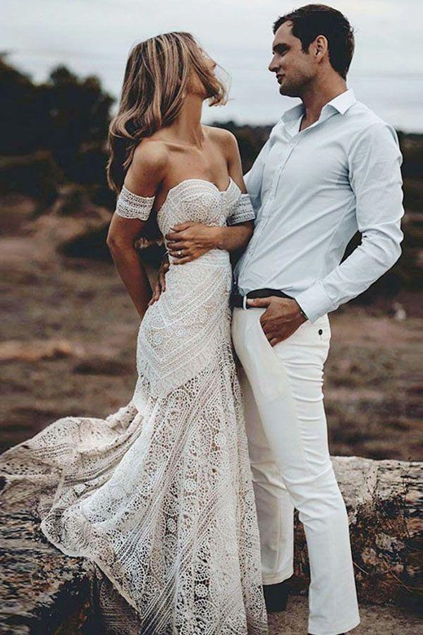2019 Boho verão fora do ombro Bohemian New Beach Backless vestido de noiva de renda transparente moderno longo vestido de noiva Custom Made Casual Fishtail