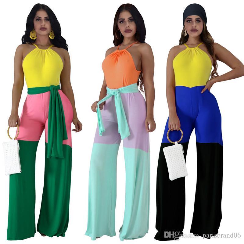 Torbacık ile Yaz Tasarımcı Kasetli Halter Tulumlar Kadınlar Seksi Şeker Renk Gevşek Tulumlar Moda Bayan Tatiller tulum