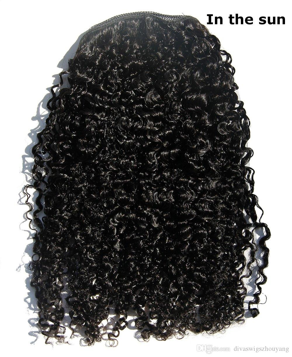 16inch Afro rizado rizado del cabello humano con cordón cola de caballo clip cola virgen 120g pelo de caballo brasileño para las mujeres negras