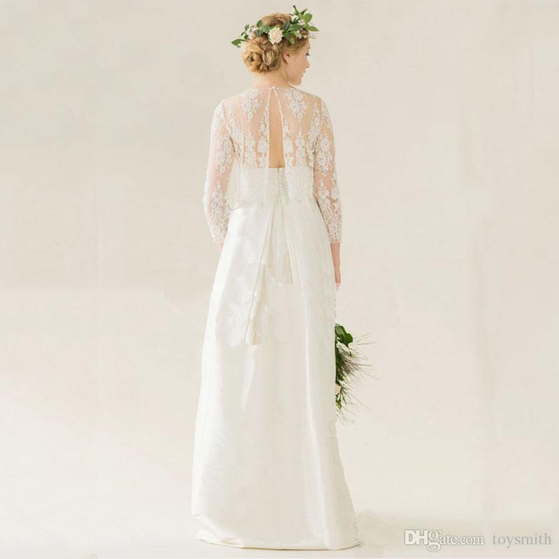 White Ivory Lace Wedding Jacket Crop Top Back Button Free Shipping 3/4 Sleeves Boho Bridal Wraps Custom Made Wedding Accessory