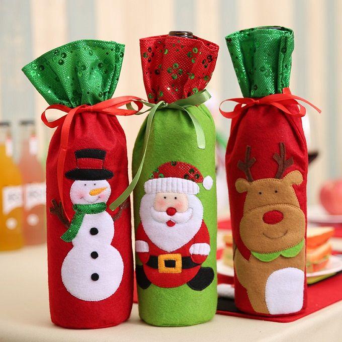 جوارب عيد الميلاد 32 * 13cm سانتا كلوز غطاء زجاجة النبيذ أكياس زينة عيد الميلاد الديكور الجدول زجاجة حقيبة عيد الميلاد الطرف الامدادات