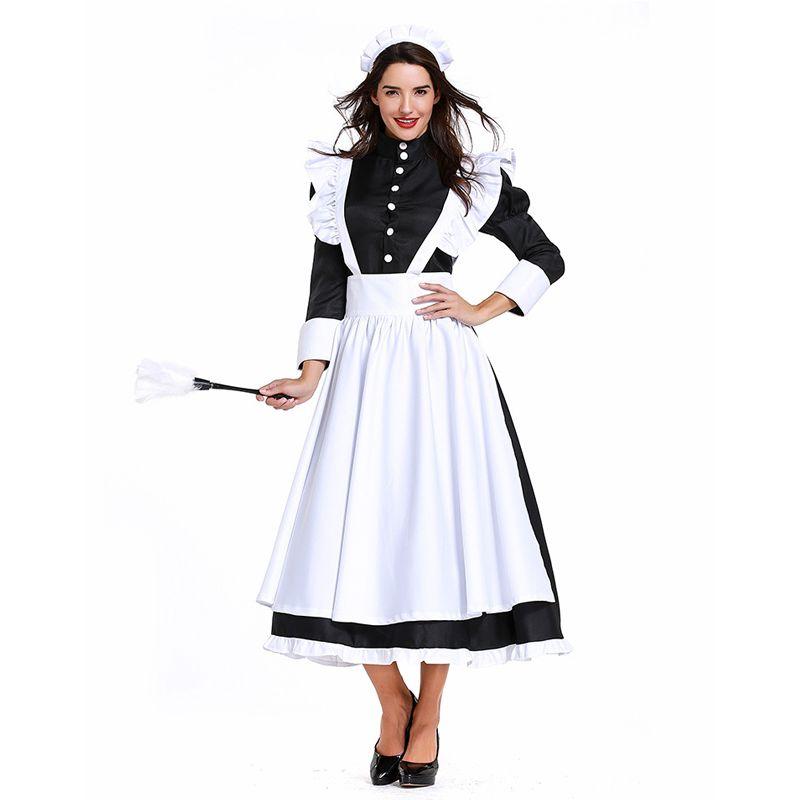 Costume de femme de ménage Femme de chambre Servante Robe de chef Robe noire / blanche Café Uniforme Anime Halloween Cosplay Outfit Plus Taille