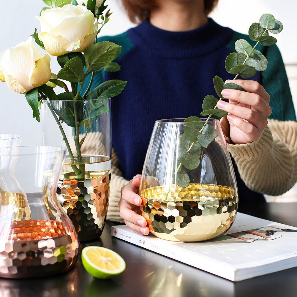European Hand Crafted Glass Featuring Transparent Flower Arrangement Water Bottle Home Decoration Wedding Plant Decorative Vase Y19062803