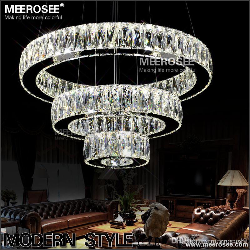 Sıcak satış LED K9 Kristal Kolye Işık Lambası Lustres De Cristal Süspansiyon Modern LED 3 Halkalar Bırak Aydınlatma Armatür MD2226
