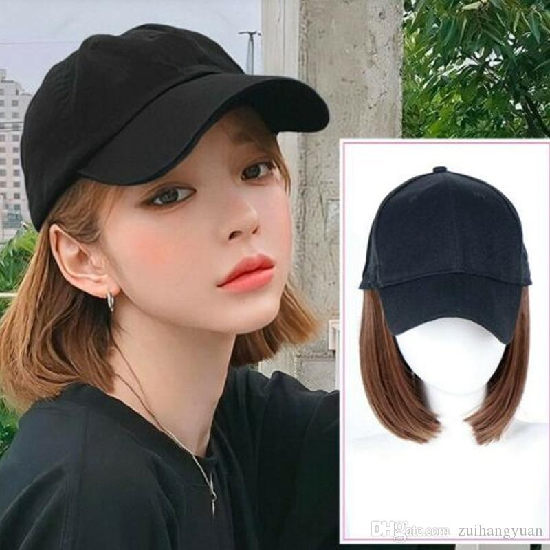 2019 Nouveau Arrivée réglable Chapeau de baseball avec Bob Perruques courtes cheveux Chapeau synthétique pour les femmes d'été perruque Cap Casual extérieure