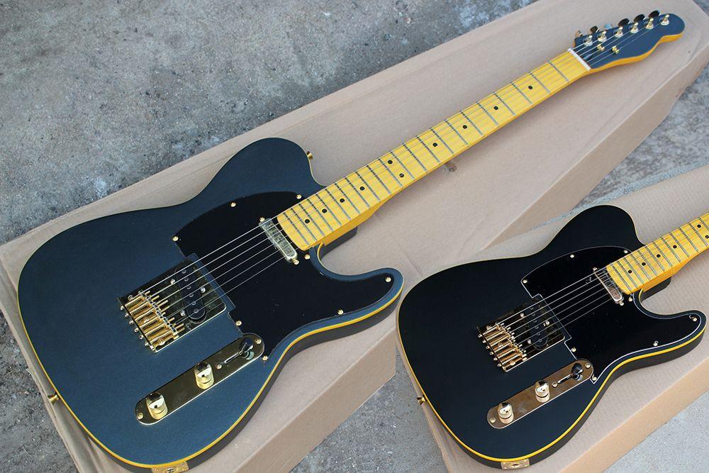Custom Factory Matte BlackBlue Chitarra elettrica con l'acero Manico di chitarra, Red Pickguard, hardware oro, giallo Binding corpo, può essere personalizzato