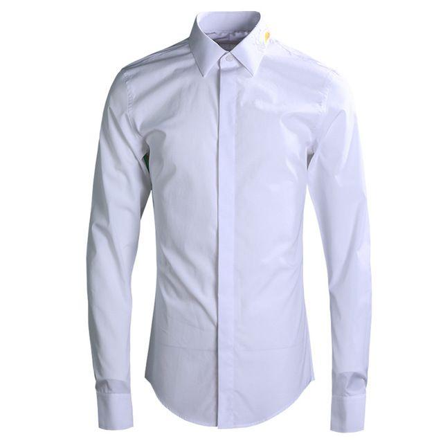 2019 Lozoga Sea Wave Embroidery Mens Shirt White Cotton Long-sleeved Shirts Fashion Breathable Shirt Brand Design Casual Shirts
