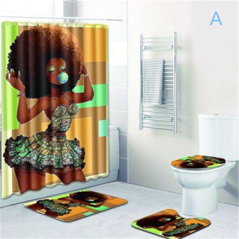 2020 New Bathroom Sets Carpet Rug Shower Curtain African Woman