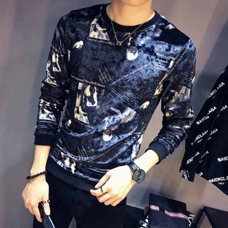 Luxury Slim Fit Men Velour T Shirt Newspaper Printing T Shirt Homme Club Outfit Men Slim Fit Long Sleeve O Neck Velvet T Shirt T200528