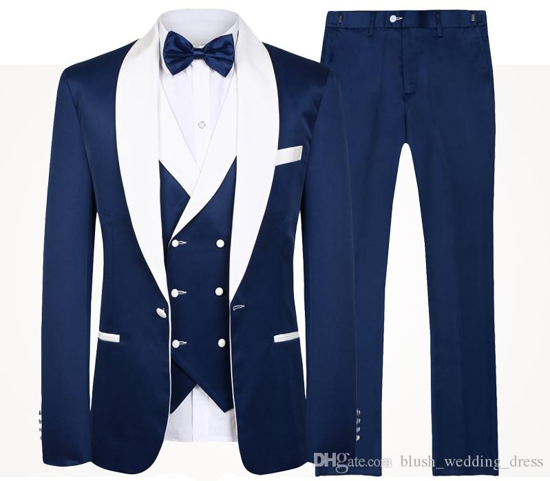 2020 Blue Men Wedding Suits New Brand Fashion Design Real Groomsmen White Shawl Lapel Groom Tuxedos Mens Tuxedo Wedding/Prom Suits 3 Pieces